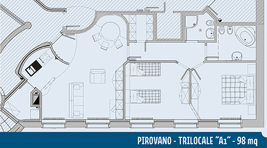 Piantina appartamento Pirovano A1 98mq