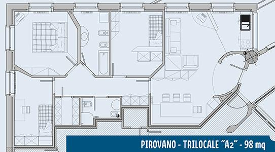 Piantina appartamento Pirovano A2 98mq