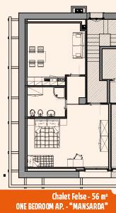 Appartamento Chalet Felse Mansarda 56mq